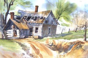 contributed photo Watercolor artist Mick Benson loves to paint the effects of time on old things, such as this log house ravaged by time and neglect.