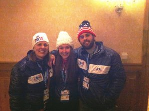 contributed photo Kristi Spaniol, Kelli Spaniol and Adam Giambruno (left to right) volunteered at the 2015 FIS Alpine World Ski Championships recently held in Vail and Beaver Creek, Colorado. They are shown here at the volunteer reception after opening ceremonies.