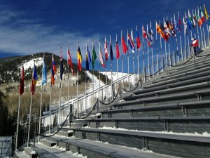 contributed photo Many flags from many nations lined the spectator stadium at the 2015 FIS Alpine World Ski Championships recently held in Vail and Beaver Creek, Colorado.