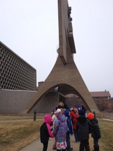 contributed photo St. Francis Xavier students walk toward the Abbey Church for a tour after watching a CLIMB Theatre presentation.