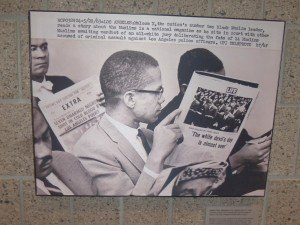 photo by Dennis Dalman This photograph shows Malcolm X, civil-rights militant, reading an account in LIFE magazine in 1963 while sitting in a courtroom during the trial of black Muslims accused of assaulting Los Angeles police officers. The jury was all-white. Malcolm X, who was assassinated, believed blacks could not remain passive to the assaults by whites against them.