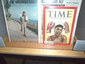 photo by Dennis Dalman Cassius Marcellus Clay, later known as Mohammed Ali, is depicted on the March 22, 1963 cover of TIME magazine. This display is one of many in For All the World to See, an exhibit depicting black life in the United States before the Civil Rights Era.